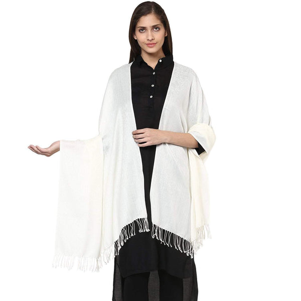 Pashtush Store Pashtush Women's Soft Wool Shawl Pearl White with fringes