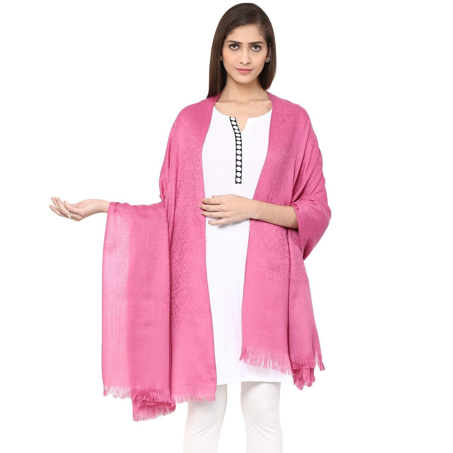 Pashtush Store Pashtush Women's Soft Wool Shawl Pink with Jacquard Design