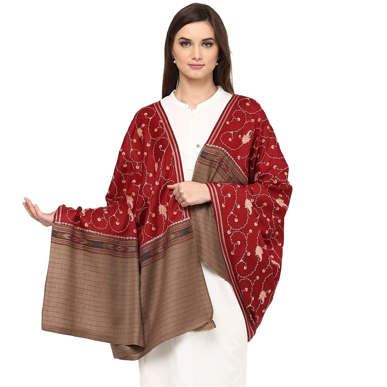 Pashtush Store Pashtush Women's Wool Shawl Maroon Jaal embroidery with Coffee palla