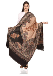 Pashtush Store Pashtush Womens Jamawar Shawl with Aari Embroidery, Silky Threadwork - Soft Faux Pashmina