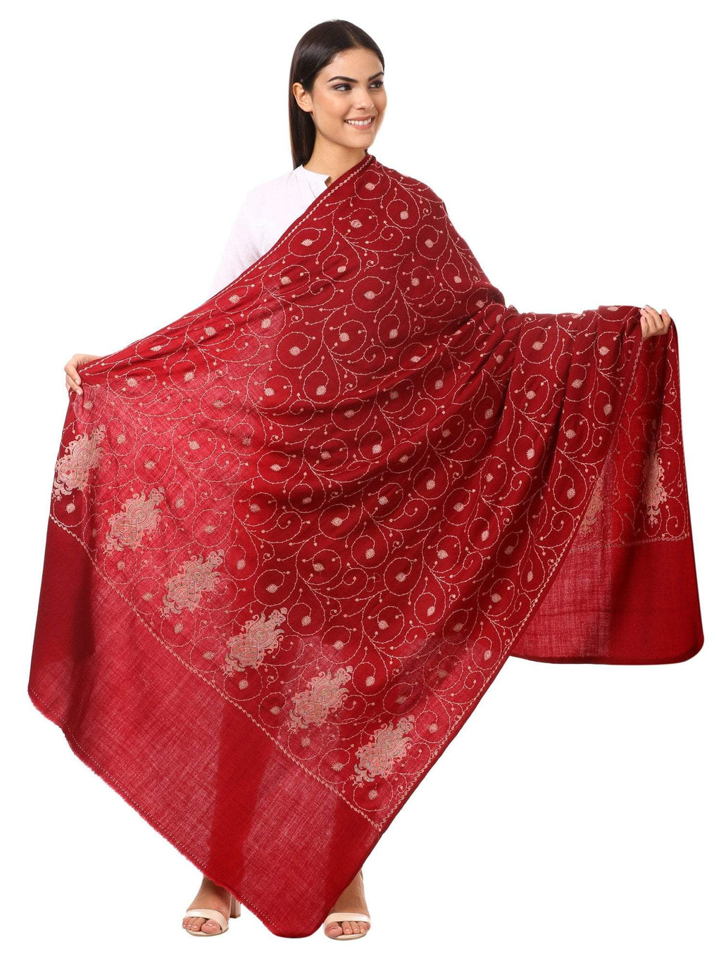 Pashtush Store Shawl Pashtush Womens Kashmiri Embroidery Shawl, Jaal Design, Silk Thread Needlework