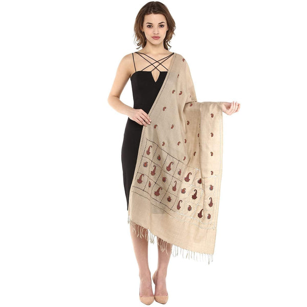 Pashtush Store Pashtush Womens Pashmina Embroidery Stole, Pure Wool, With Delicate Beading Work