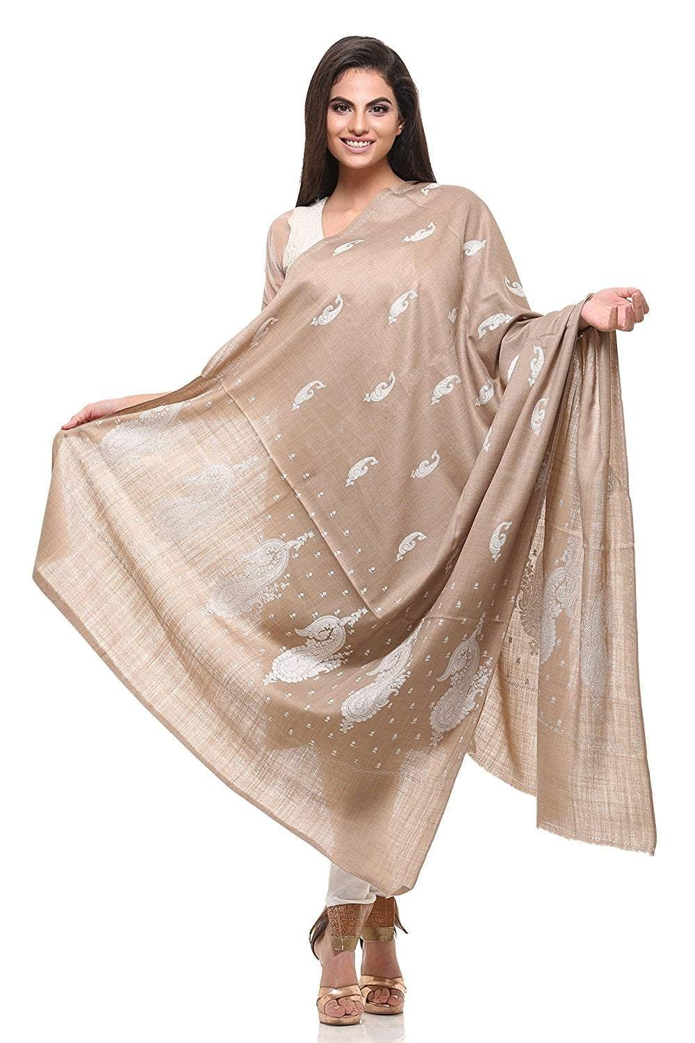 Pashtush Womens Pashmina Shawl with Tone on Tone Embroidery, Soft and Warm, Light Weight Shawl