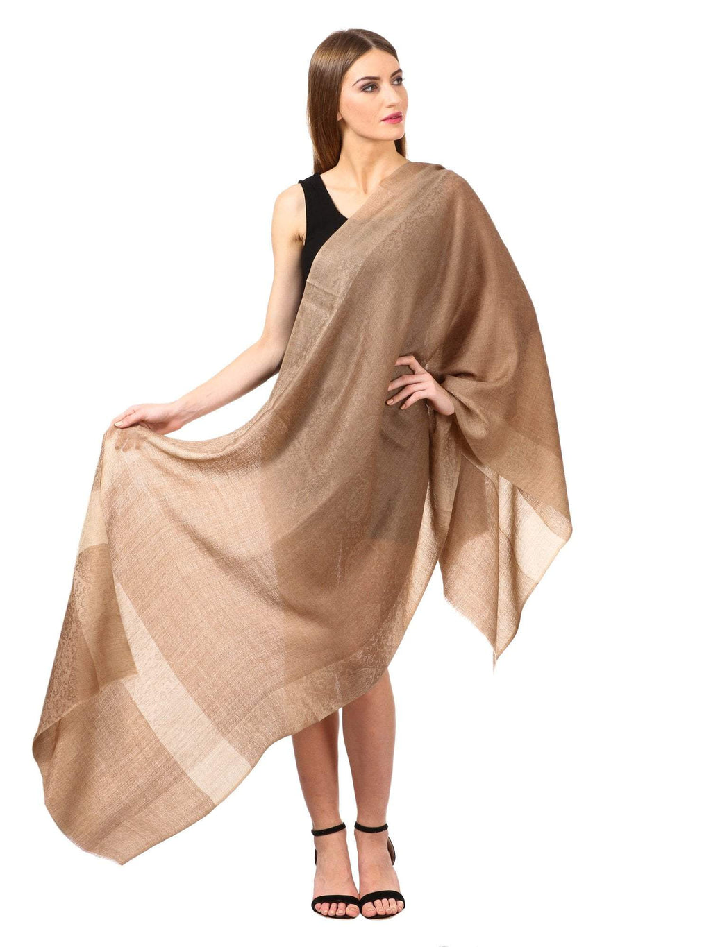 Pashtush Women's Reversible Stole with Paiseley weave, Nude Beige, shades of pashmina