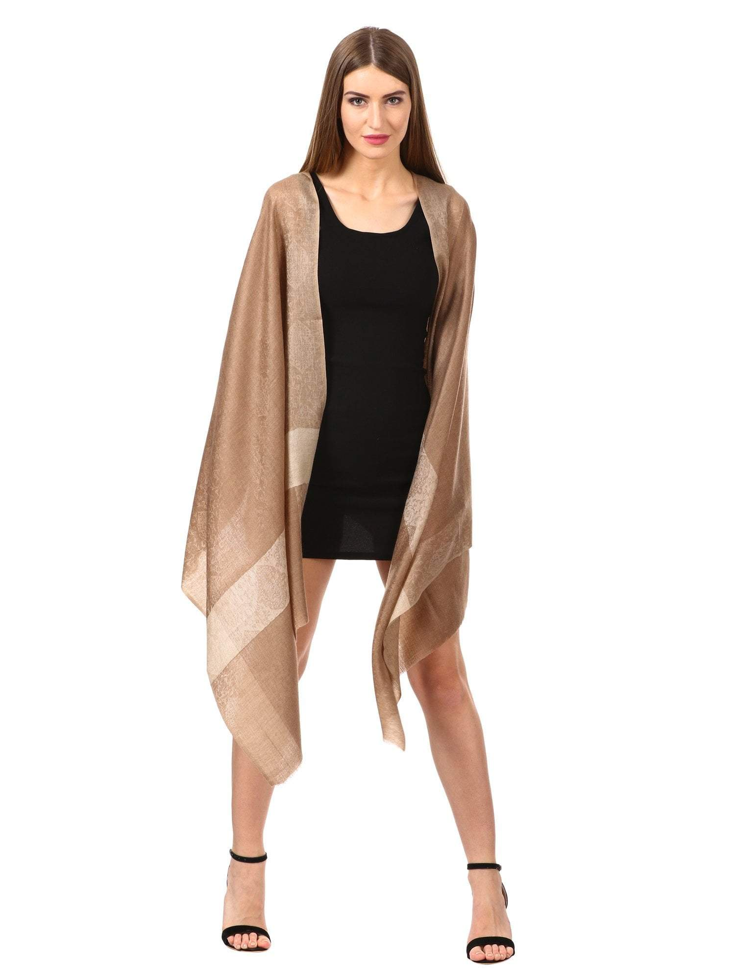 Pashtush Store Scarf Women's Reversible Stole, with Paiseley weave, Nude Beige
