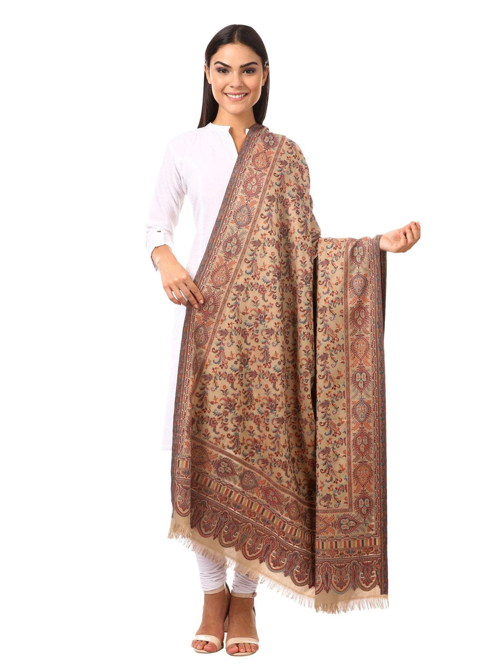 Womens Kaani Shawl, Faux Pashmina, Soft and Warm (Dark taupe)