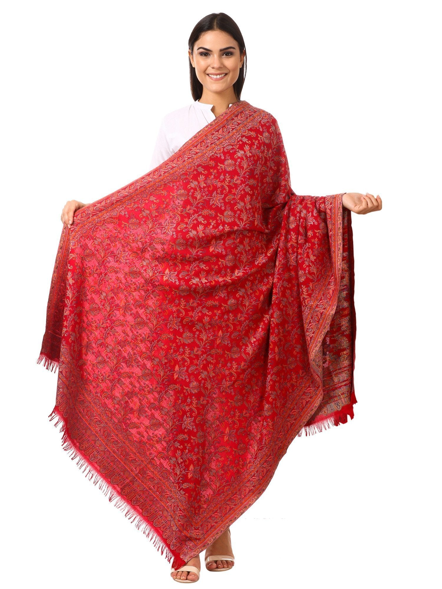 Womens Kaani Shawl, Faux Pashmina, Soft and Warm (Scarlet Red)