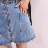 ZIPPER DENIM SKIRTS