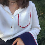 SIMPLE NAVY CUFF BLOUSE