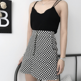 CHECKERED ZIPPER SKIRT