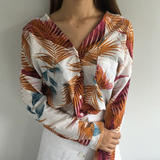 LEAVES PRINT LOW CUT BLOUSE IN ORANGE