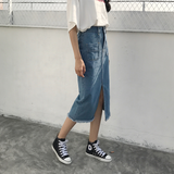 MID LENGTH SLIT DENIM SKIRT