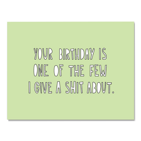 birthday give a shit card