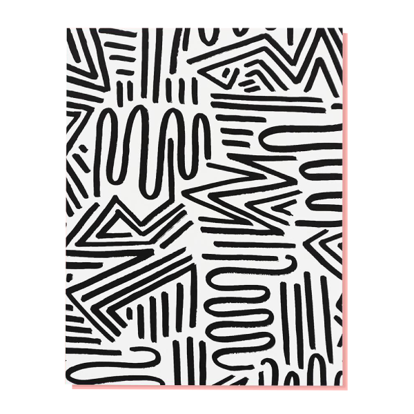 a white greeting card with black zigzagging design