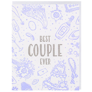 best couple ever greeting card with purple wedding illustrations