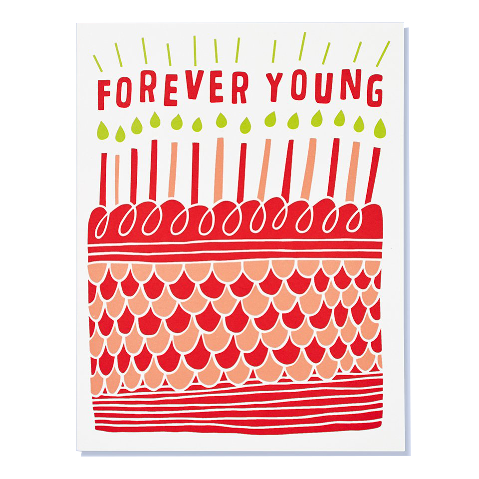forever young birthday card with cake and candles