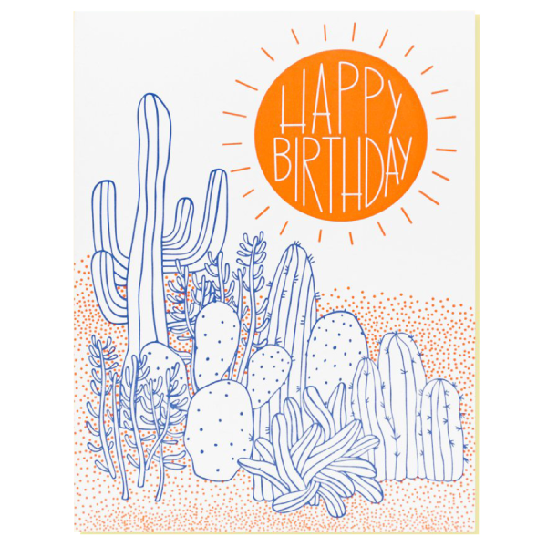 happy birthday card with cactus