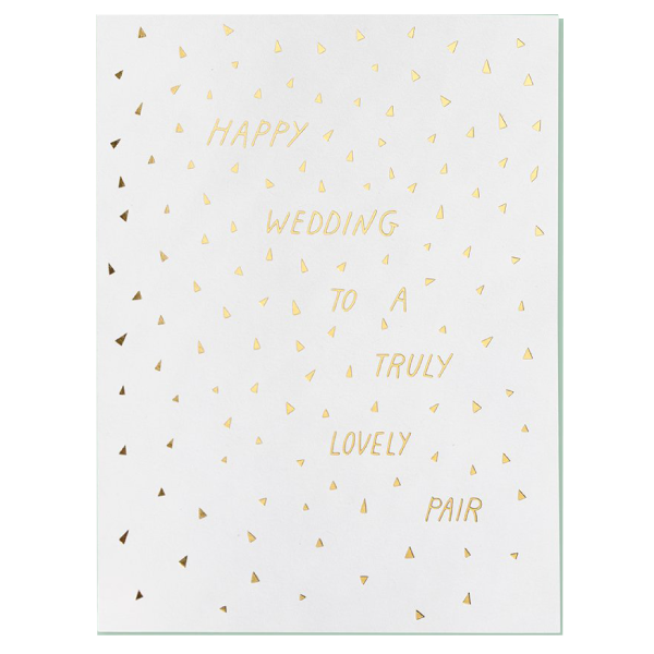 happy wedding to a lovely pair card with gold writing