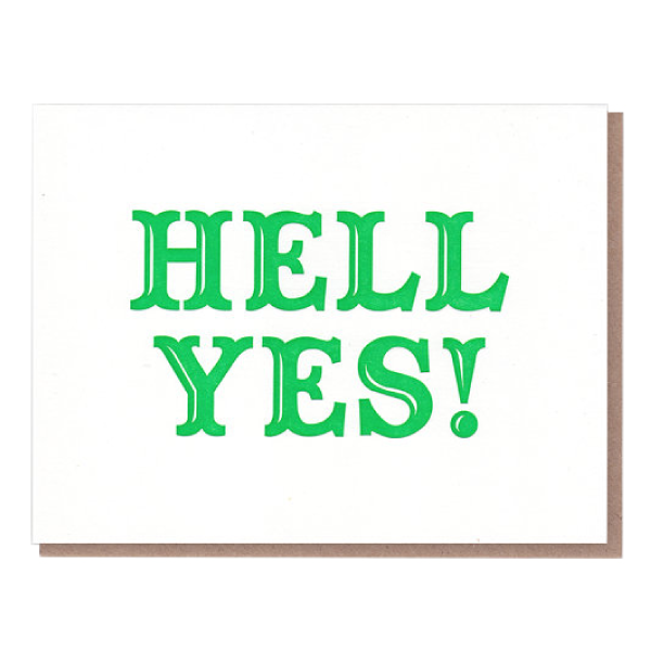 hell yes greeting card