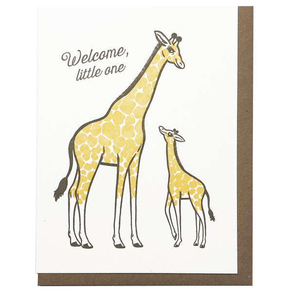 welcome little one mom giraffe and baby giraffe greeting card