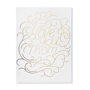 love you mom card in gold lettering