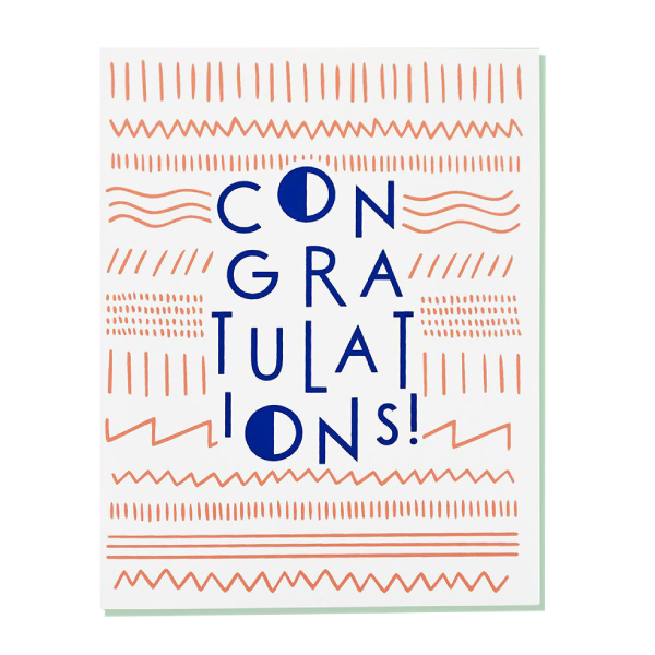 congratulations greeting card in blue writing with pink background