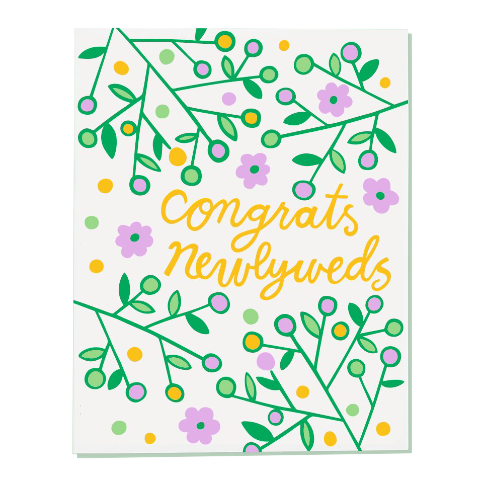 congrats newlyweds with flowers greeting cards