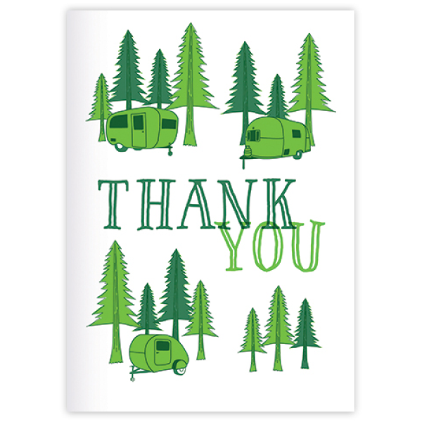 thank you greeting card with trees and campers