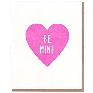 be mine in a pink heart valentines day card