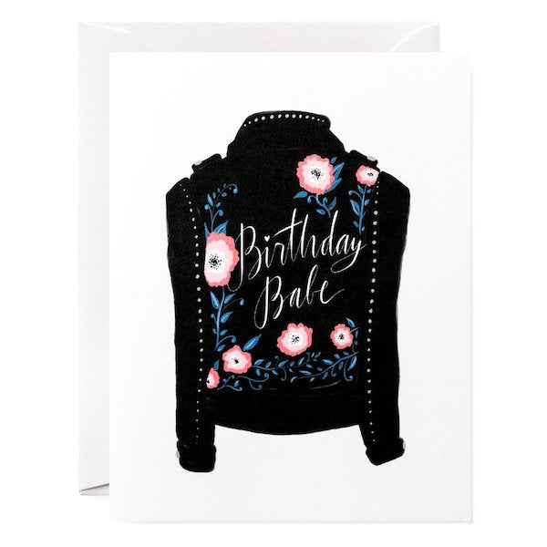 Birthday babe jacket greeting card