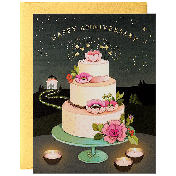 happy anniversary card with cake and flowers