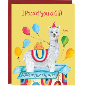 An alpaca with a party hat and balloons coming out of a box that says happy birthday