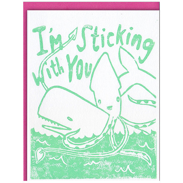 A whale and a squid hugging and saying I'm sticking with you
