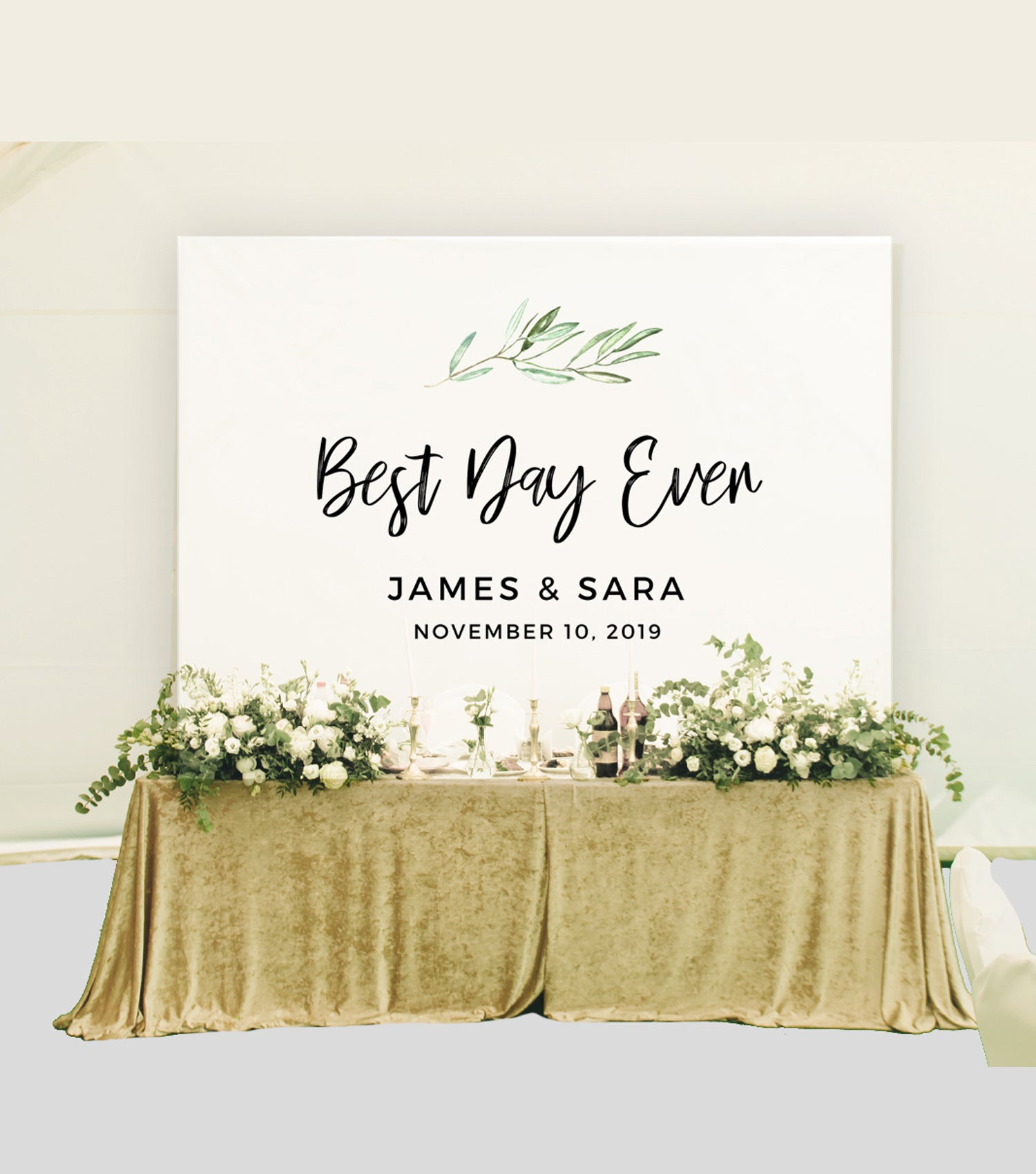 Best Time Of Day For Wedding: Best Day Ever Wedding Backdrop