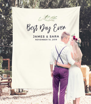 Best Day Ever Wedding Backdrop | Rustic Wedding Table Decor, Sweetheart Table - Blushing Drops