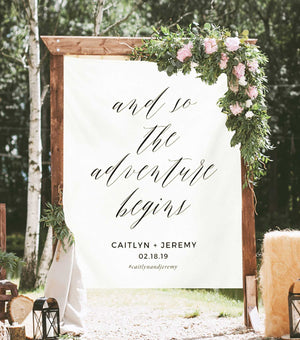 and so the adventure begins sign backdrop, outdoor wedding decoration ideas