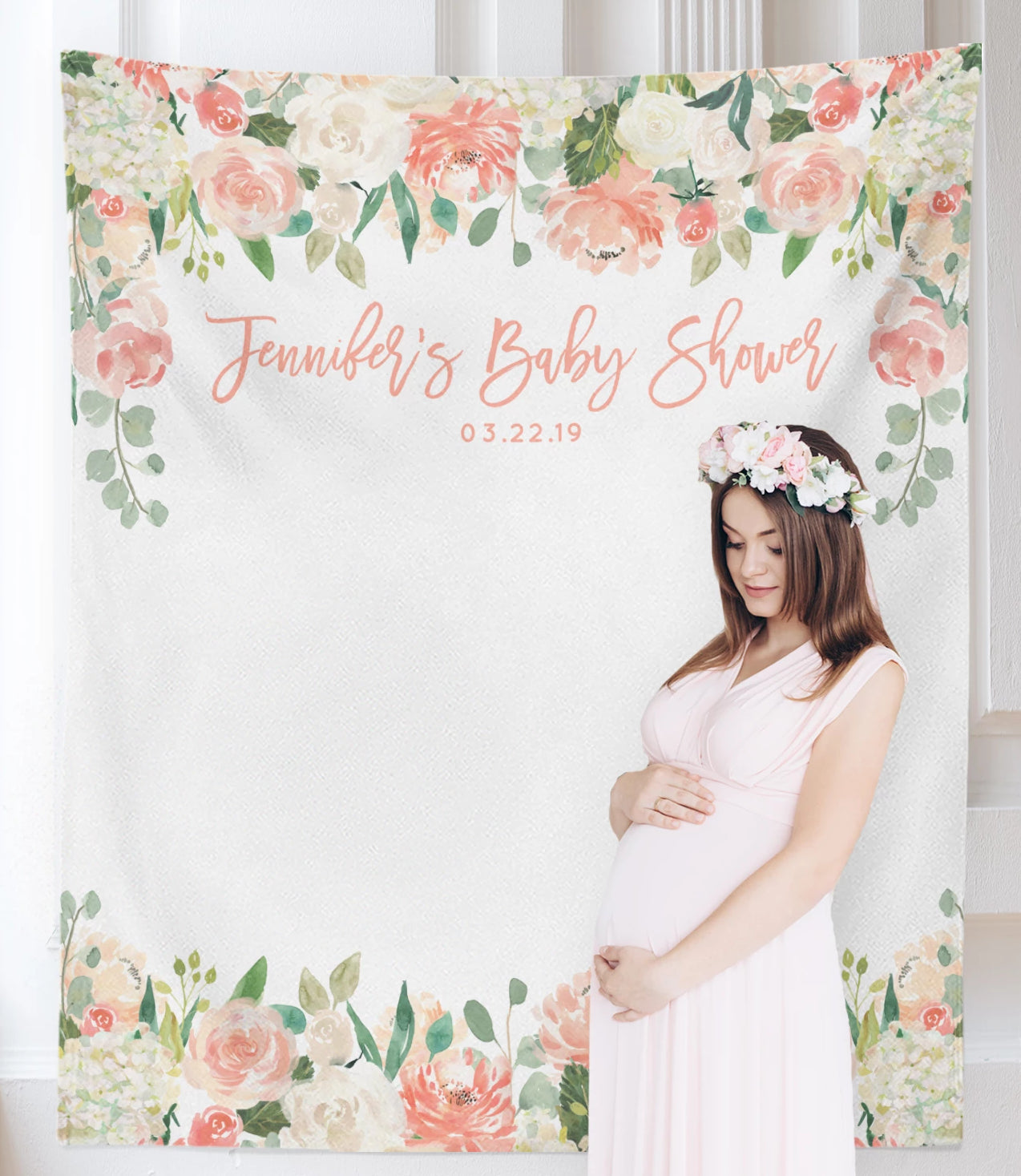 Peach Floral Baby Shower Backdrop | Girl Baby Shower Decorations - Blushing  Drops