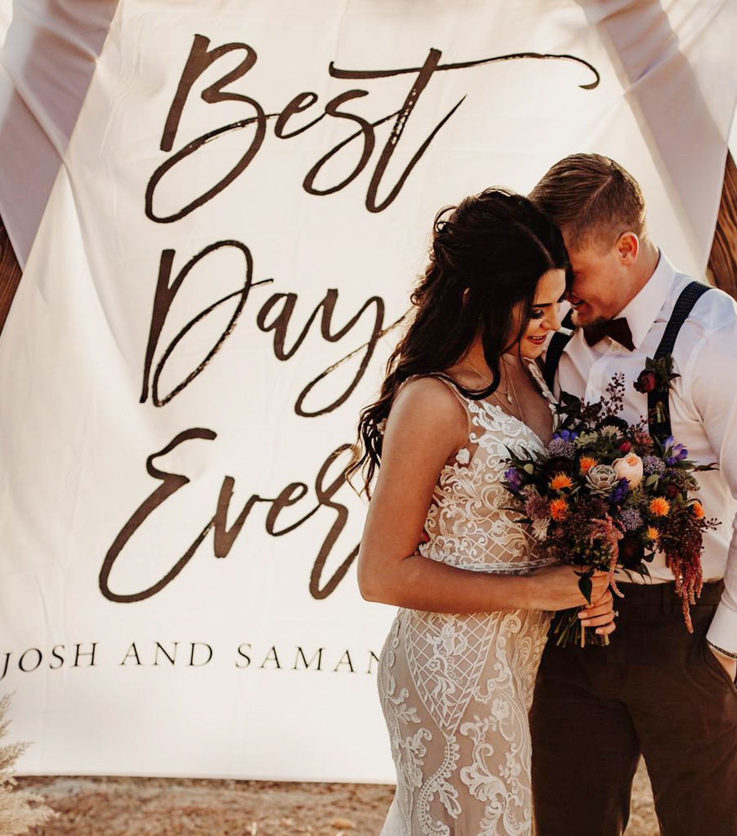 Best Day Ever Wedding Backdrop For Ceremony Blushing Drops