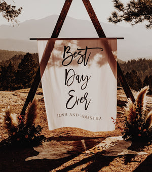 Best Day Ever Banner Wedding Decorations Backdrop | Personalized Calligraphy Banner - Blushing Drops