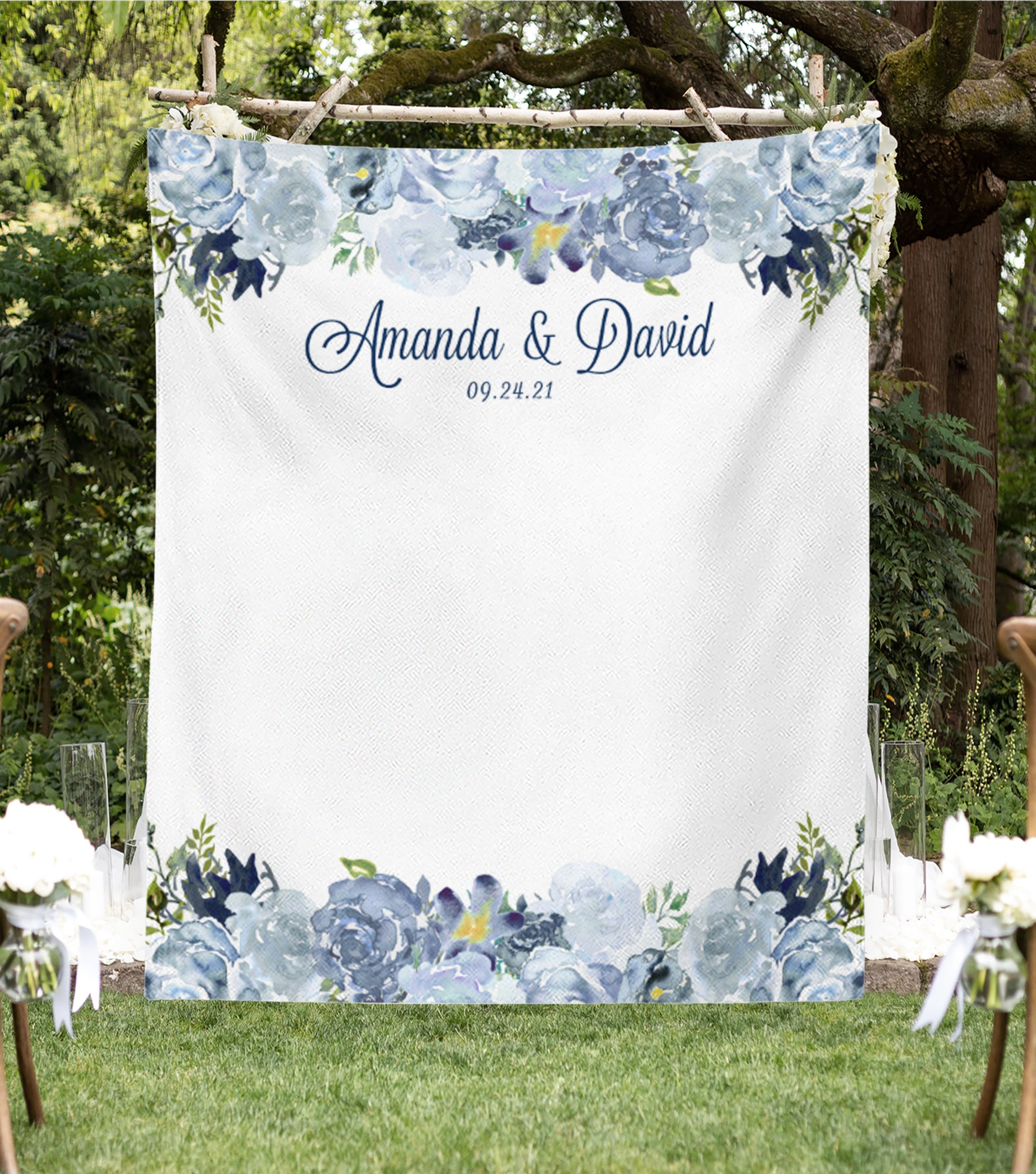 Wedding Photography Booth Ideas.Dusty Blue Wedding Photo Booth Backdrop For Sale Blushing Drops