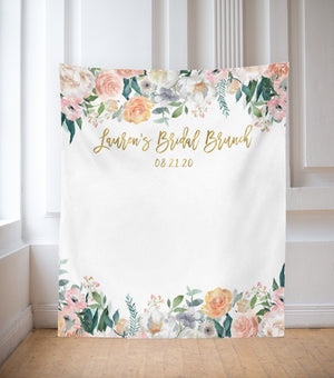 Floral Bridal Brunch Decorations | Blush Bridal Shower Backdrop Ideas - Blushing Drops