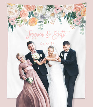 Blush Wedding Decorations |  Floral Wedding Photo Booth Backdrop - Blushing Drops
