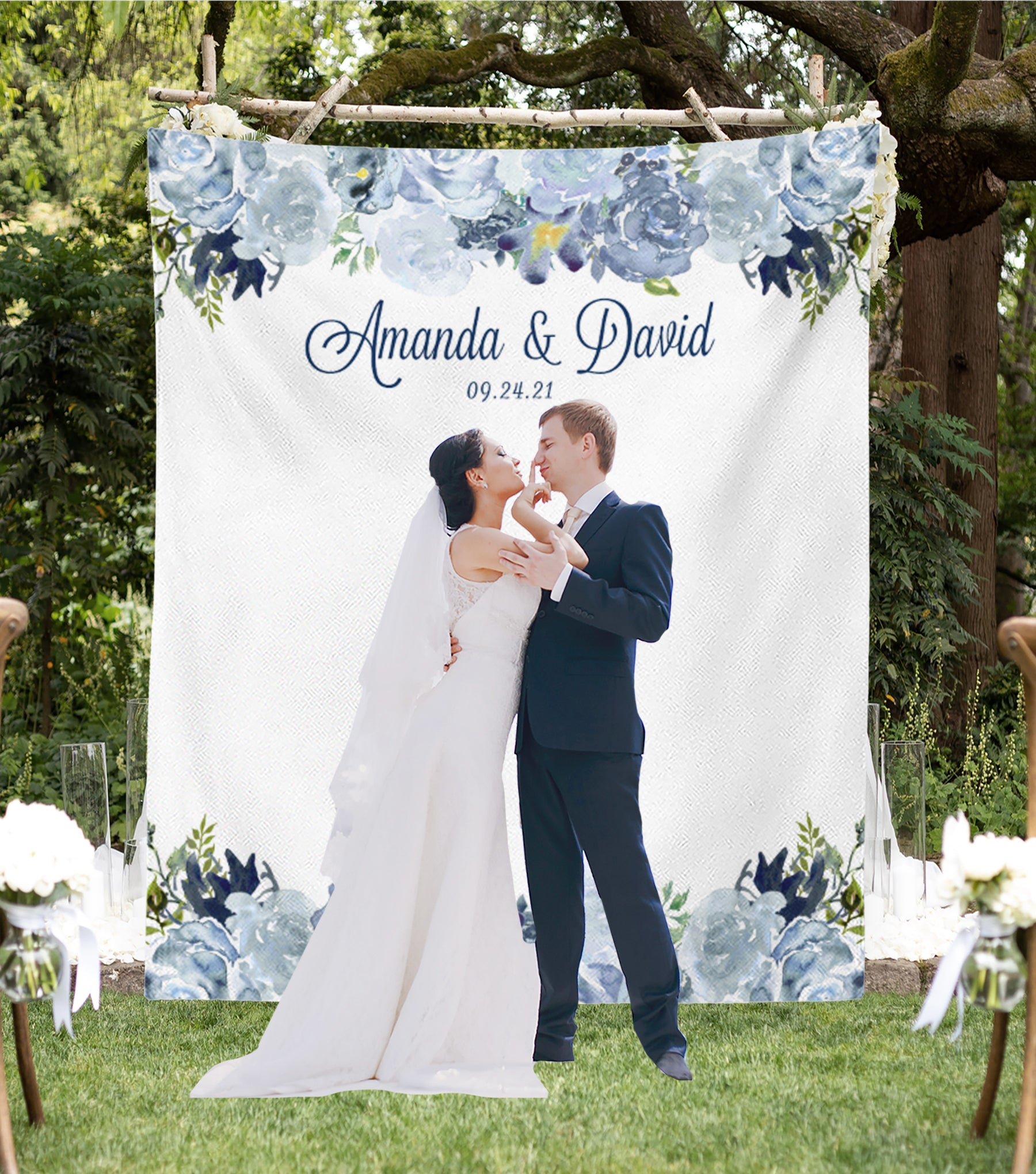 Navy Blue Wedding.Dusty Blue Wedding Photo Booth Backdrop For Sale Blushing Drops