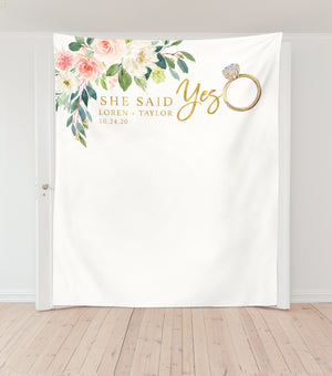 She Said Yes Backdrop, Engagement Party Photo Backdrop for Sale