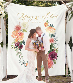 Fall floral wedding photo booth backdrop, wedding ceremony backdrop