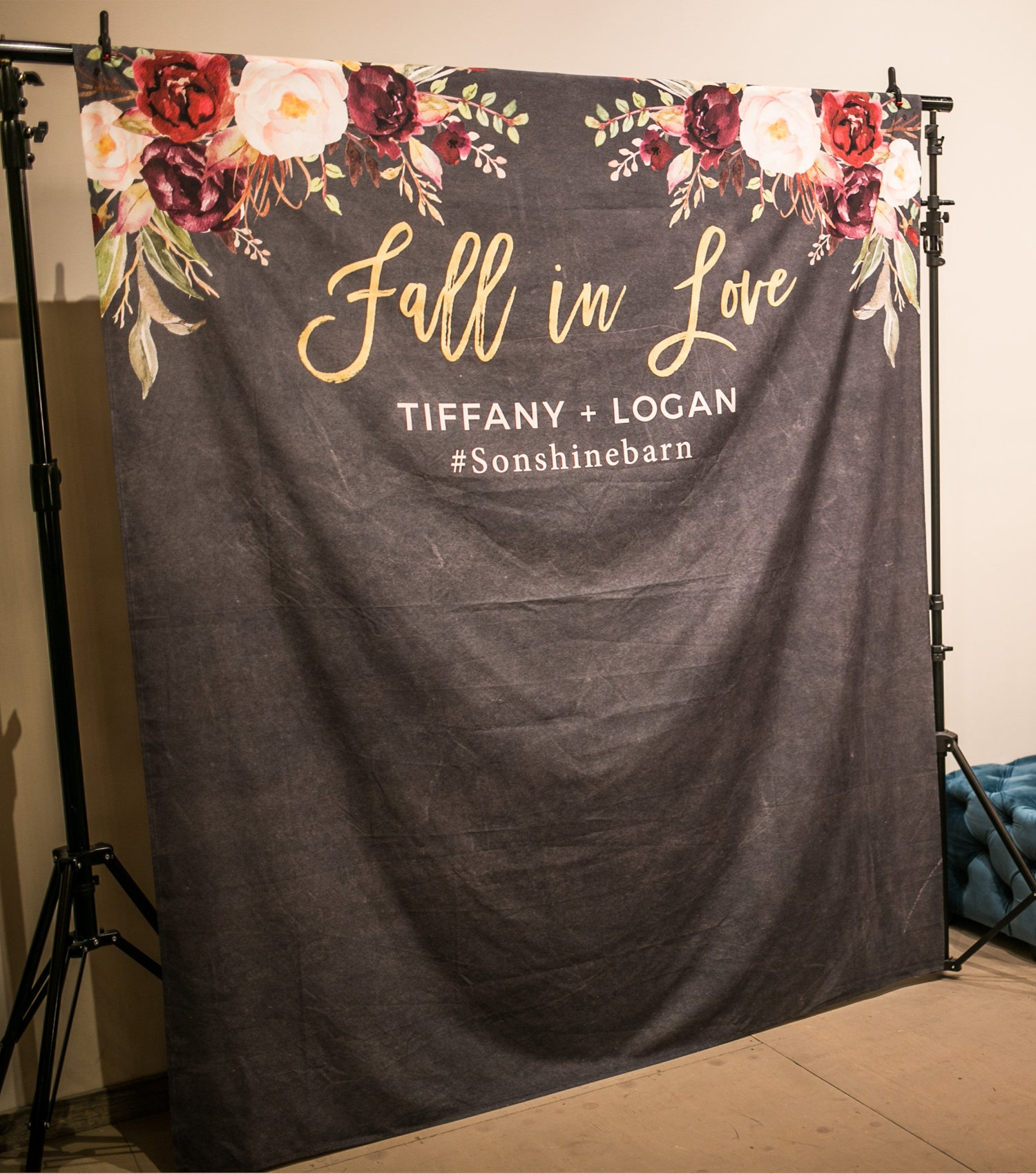 Fall In Love Wedding Banner Autumn Wedding Photo Booth Backdrop Blushing Drops