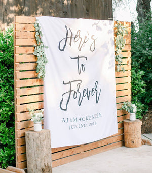 Here's To Forever Banner | Custom Wedding Backdrop for Reception - Blushing Drops