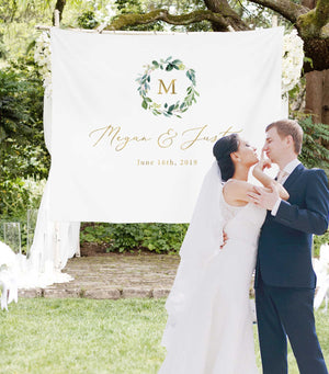Custom Elegant Gold Monogram Wedding Backdrop For Reception
