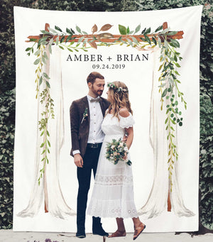 Greenery Wedding Backdrop for Reception, Rustic Wedding Photo Booth