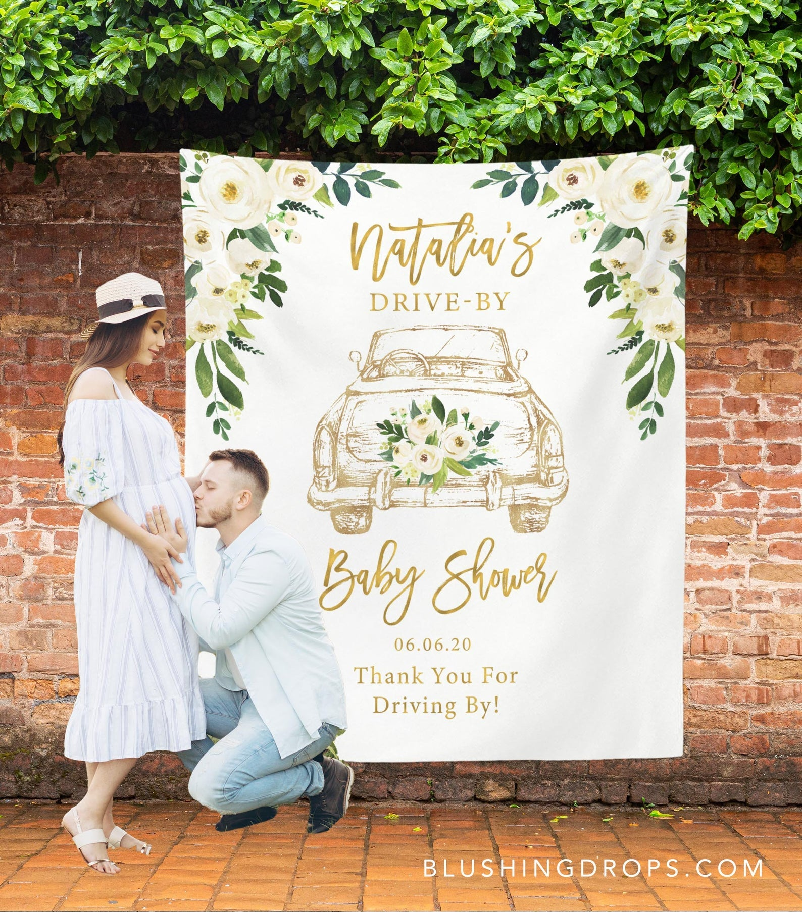 Drive By Baby Shower Parade Backdrop Blushing Drops